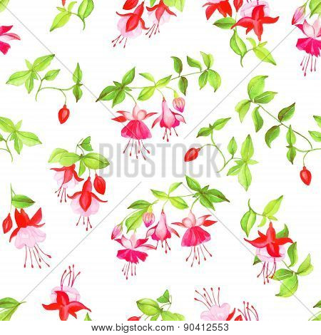 Spring Fuchsia Watercolor Seamless Vector Print