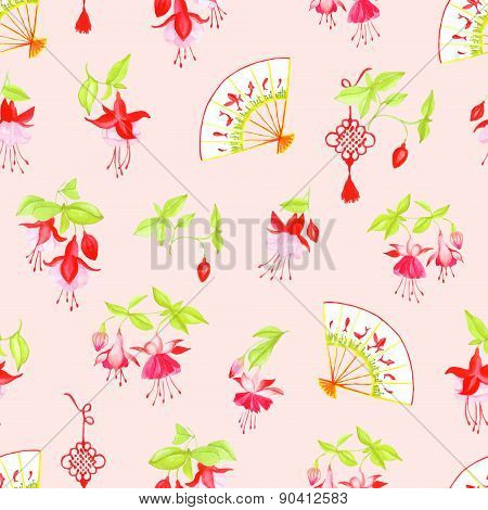 Chinese Lanterns, Fuchsia And Fans Seamless Vector Pattern