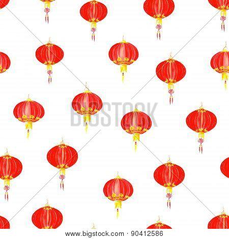 Red Oriental Lantern Watercolor Seamless Vector Pattern