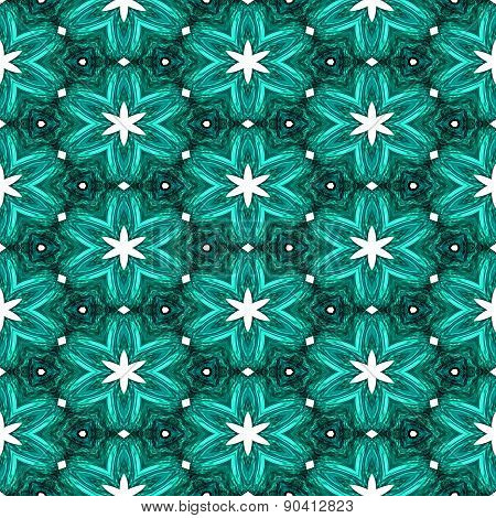 Abstract Green Texture Or Background With White Stars With Christmas Look Made Seamless