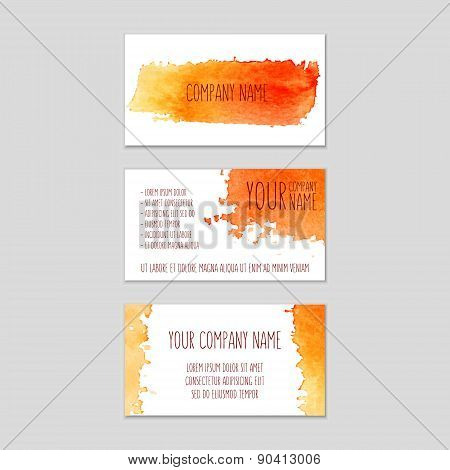 Set Of Business Cards With Orange Watercolor Background.