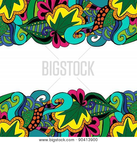 Element doodle boarder in vivid colors.
