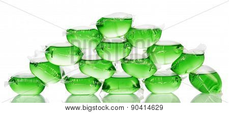 Pyramid from green water bags for ice