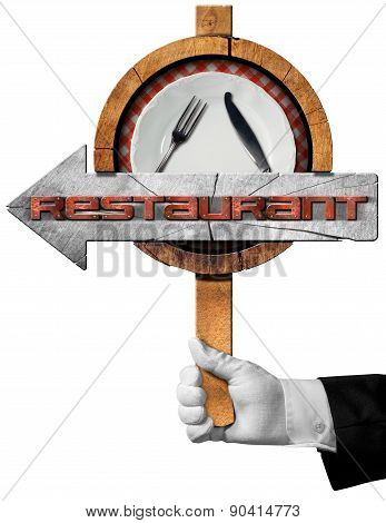 Restaurant - Arrow Sign With Hand Of Waiter