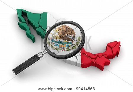 Map of Mexico with loupe