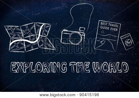 Map, Camera, Travel Guide And Passport