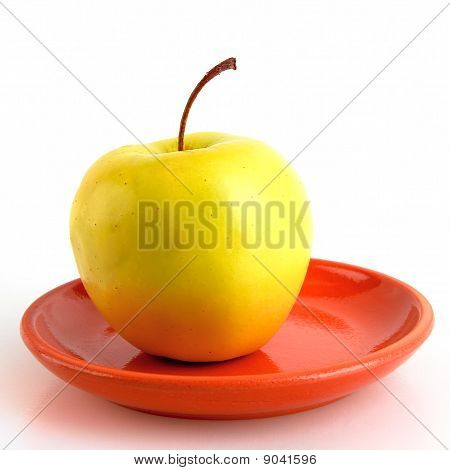 One Apple With Stem On Saucer
