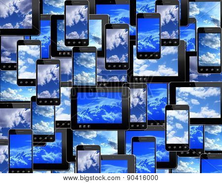 Smart-phones And Tablets With Image Of Blue Sky