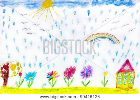 Children's Drawing Of House Flowers And Rainbow