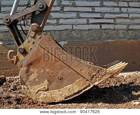 ladle of an excavator at a construction