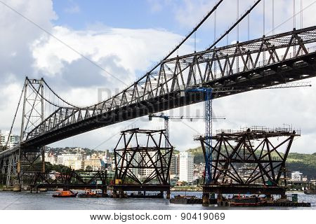 FLORIANOPOLIS, BRAZIL - MAY 12: Workers restore historic Hercilio Luz Bridge on May 12, 2015