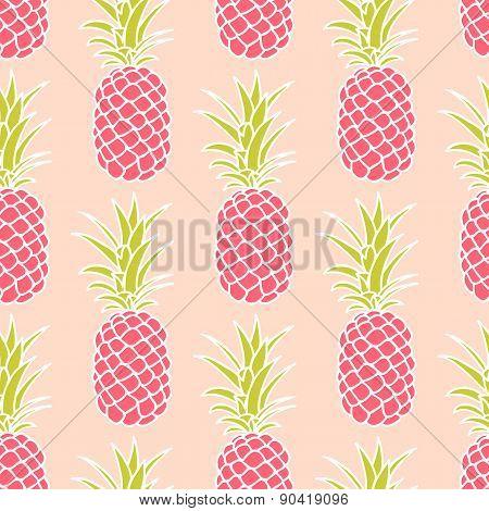 Seamless Pink Pineapple Pattern