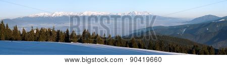 Panoramic Wintry View Of High Tartas Mountains
