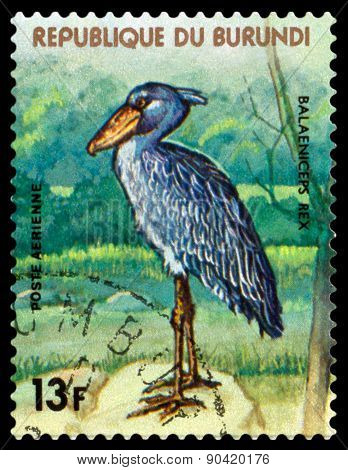 Vintage  Postage Stamp. Royal Heron. Animals Burundi.