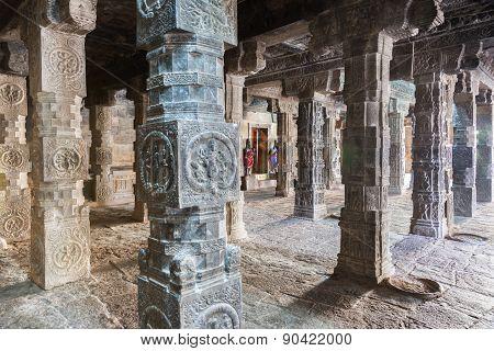 Looking Through The Pillared Mandapam To Mariamman Shrine.