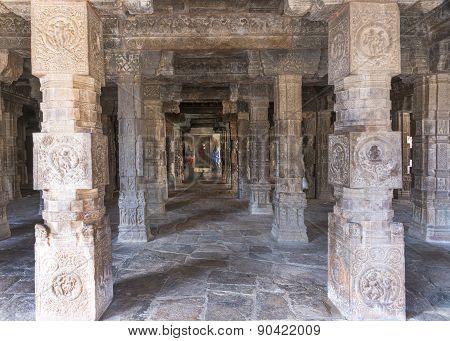 Look Through Pillared Mandapam Straight Into Mariamman Shrine.