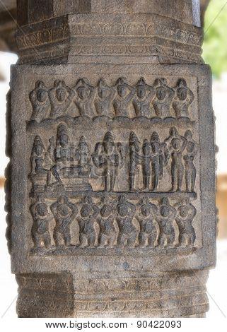 Pillar Sculpture Of Dancing Figures.