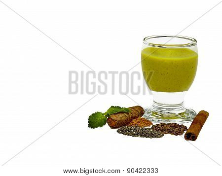 Tumeric Smoothie With Flax, Chia And Cinnamon