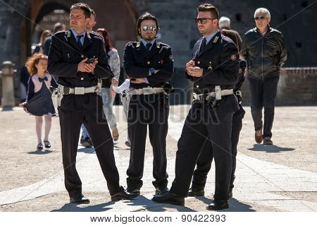 Italian Local Police In Milan