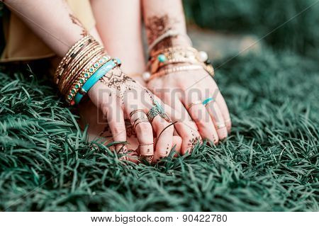 Indian Hindu Bride With Mehendi Heena.