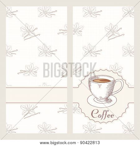 Coffee House Menu Template Design In Vector. Hand Drawn Cafe Bakground