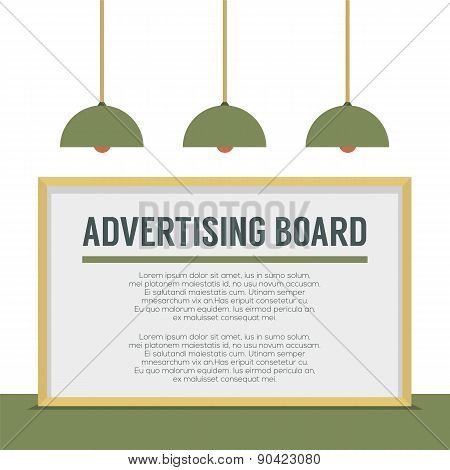 Blank Advertising Billboard On White Wall.