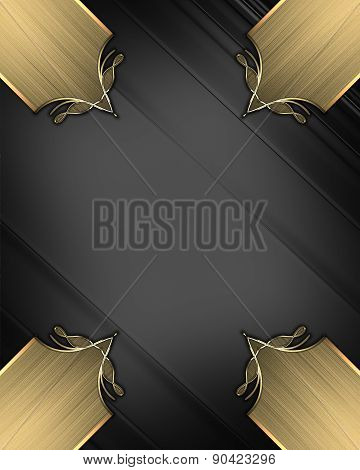 Abstract Black Background With Gold Inlays Of Gold. Design Template. Design Site