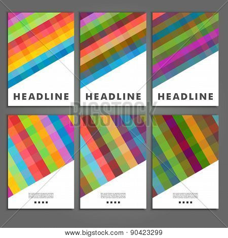 Set six book covers background of colored squares