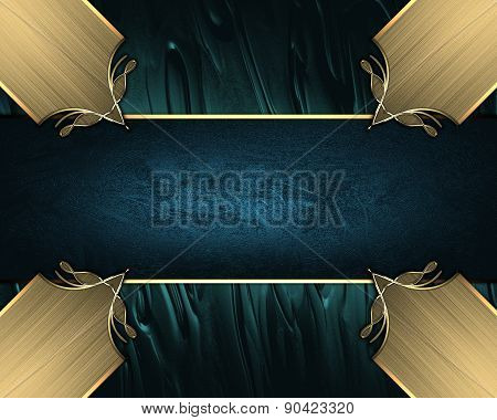Abstract Blue Background With Gold Inlays Of Gold And Blue Ribbon. Design Template. Design Site