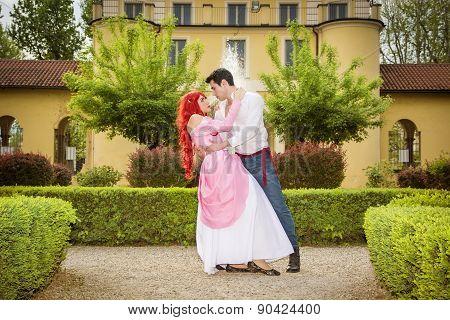 Romantic Fairy Tale Couple Dancing in Beautiful Palace Garden
