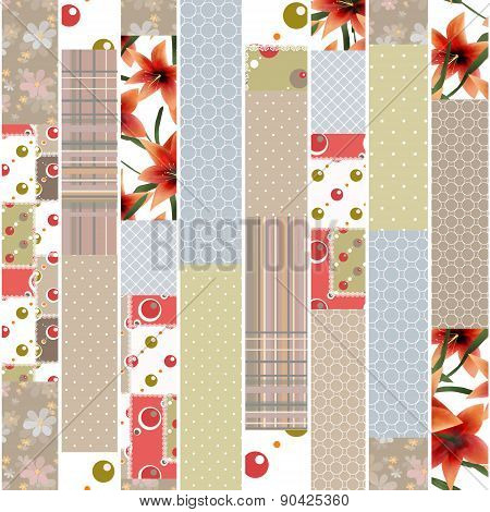 Patchwork design seamless floral pattern ornament colors background