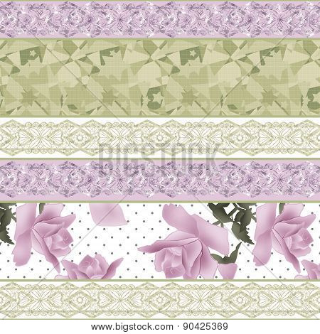 Patchwork floral fabric pattern retro beige background