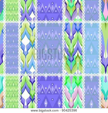 Patchwork design seamless pattern ornament pastel blue colors background