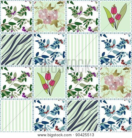 Patchwork seamless floral pattern with tulips background