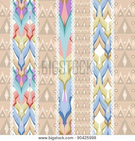 Patchwork seamless pattern ornament beige colors background