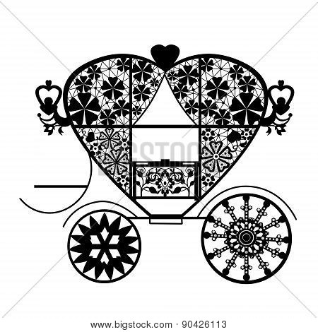Vintage lace carriage isolated on white background