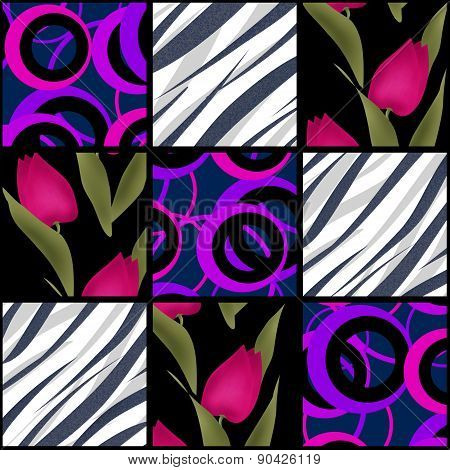Patchwork seamless pattern with tulips