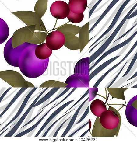 Patchwork fruit pattern with plum and cherry background