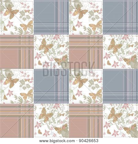 Patchwork seamless pattern with buterflies checkered background