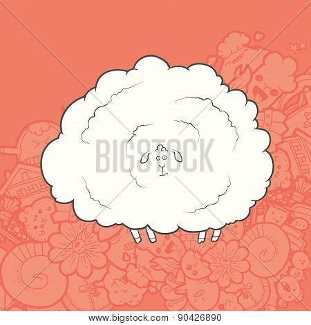 Vector Illustration Cute Hand Drawn Sheep. Greeting card New Year.