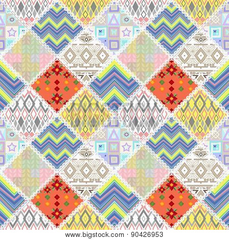 Patchwork seamless floral lace retro pattern background