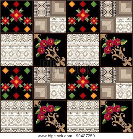 Patchwork seamless floral pattern texture background with decorative elements