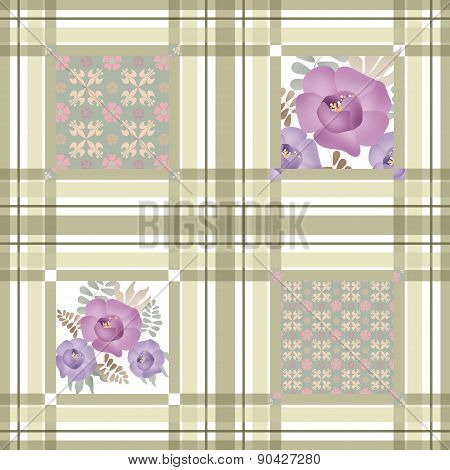 Abstract seamless patchwork checkered plaid textile retro floral design pattern background
