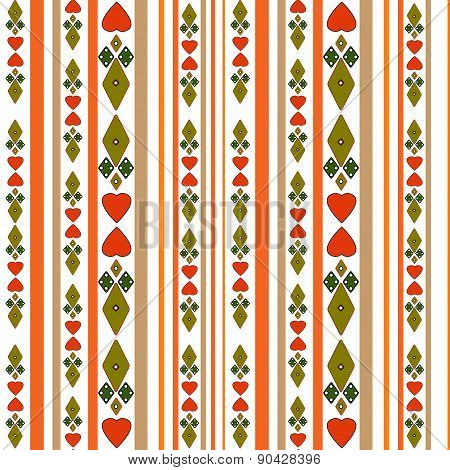 Seamless pattern with hearts and stripes on white background