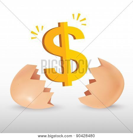 Dollar sign with egg