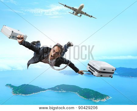 Crazy Business Man Flying From Passenger Plane With Briefcase And Luggage With Glad And Happiness Em