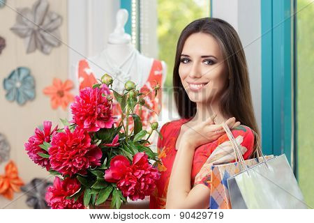 Woman with Floral Bouquet and Shopping Bags