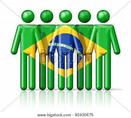 Flag Of Brazil On Stick Figure