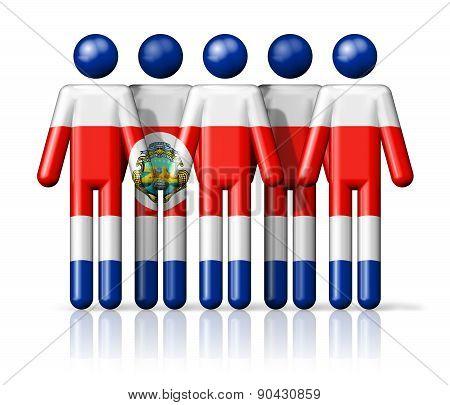Flag Of Costa Rica On Stick Figure