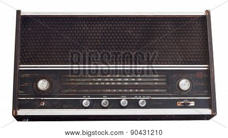 Vintage Fashioned Radio Isolated On White Background